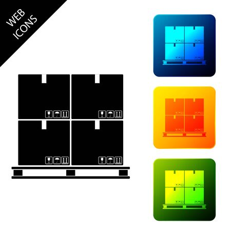 Cardboard boxes on pallet icon isolated on white background. Closed carton delivery packaging box with fragile signs. Set icons colorful square buttons. Vector Illustration Ilustração