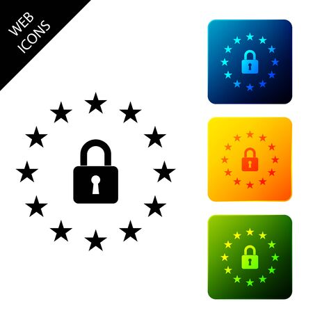 GDPR - General data protection regulation icon isolated on white background. European Union symbol. Security, safety, protection, privacy concept. Set icons colorful square button. Vector Illustration