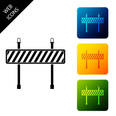 Road barrier icon isolated. Symbol of restricted area which are in under construction processes. Fence of building or repair works. Hurdle icon. Set icons colorful square buttons. Vector Illustration