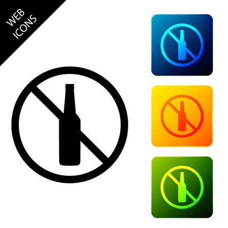 No alcohol icon isolated on white background. Prohibiting alcohol beverages. Forbidden symbol with beer bottle glass. Set icons colorful square buttons. Vector Illustration
