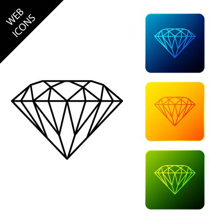 Diamond icon isolated on white background. Jewelry symbol. Gem stone. Set icons colorful square buttons. Vector Illustration Ilustrace