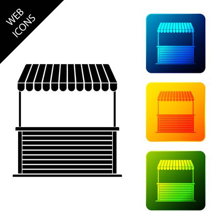 Street stall with awning and wooden rack icon isolated on white background. Kiosk with wooden rack. Set icons colorful square buttons. Vector Illustration