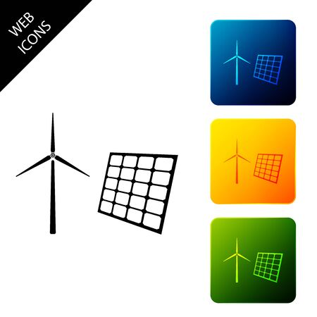 Wind mill turbines generating electricity and solar panel icon isolated on white background. Energy alternative, concept of renewable energy. Set icons colorful square buttons. Vector Illustration  イラスト・ベクター素材
