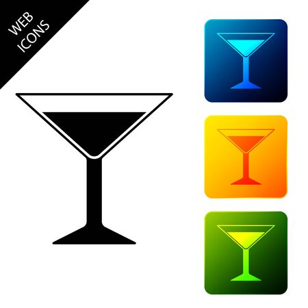 Martini glass icon isolated on white background. Cocktail icon. Wine glass icon. Set icons colorful square buttons. Vector Illustration