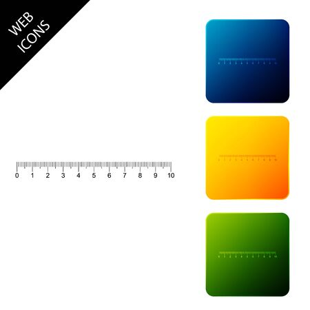 Measuring scale, markup for rulers icon isolated on white background. Size indicators. Different unit distances. Set icons colorful square buttons. Vector Illustration Çizim
