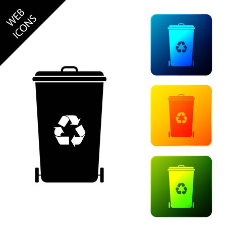 Recycle bin with recycle symbol icon isolated on white background. Trash can icon. Garbage bin sign. Recycle basket icon. Set icons colorful square buttons. Vector Illustration