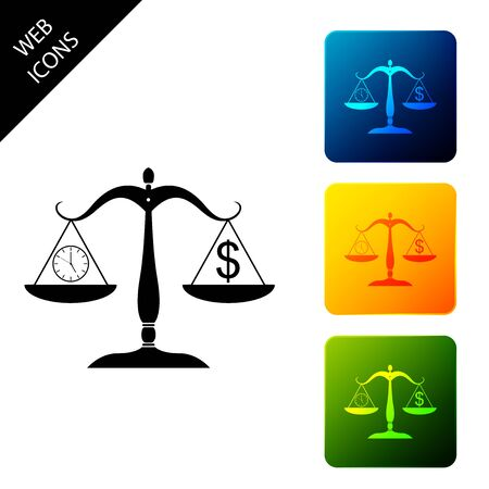 Scale weighing money and time icon on white background. Scales with hours and a coin. Balance between work and the given time. Business concept. Set icons colorful square buttons. Vector Illustration Ilustração