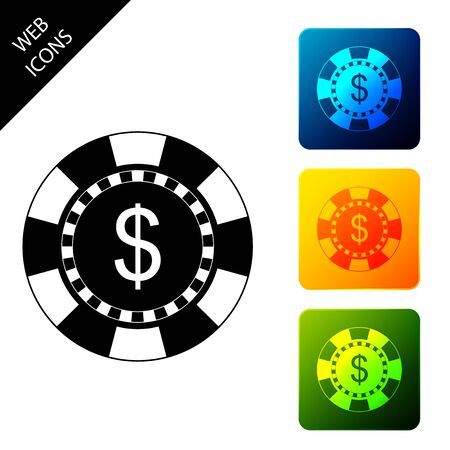 Casino chip and dollar symbol icon isolated on white background. Set icons colorful square buttons. Vector Illustration