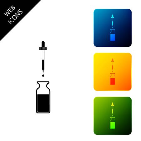Glass bottle with a pipette. Vial with a pipette inside and closed lid icon on white background. Container for medical and cosmetic product. Set icons colorful square buttons. Vector Illustration