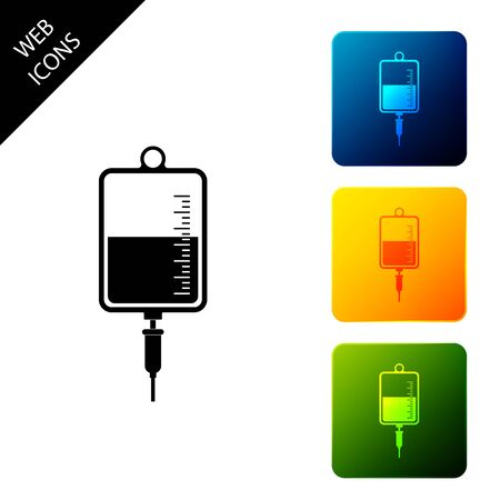 IV bag icon isolated on white background. Blood bag icon. Donate blood concept. The concept of treatment and therapy, chemotherapy. Set icons colorful square buttons. Vector Illustration