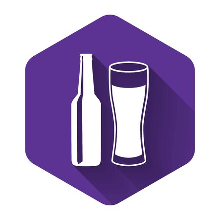 White Beer bottle and glass icon isolated with long shadow. Alcohol Drink symbol. Purple hexagon button. Vector Illustration