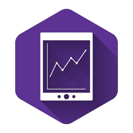 White Tablet with statistic graph chart icon isolated with long shadow. Financial chart and graph sign. Purple hexagon button. Vector Illustration