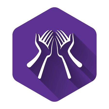 White Hands icon isolated with long shadow. Purple hexagon button. Vector Illustration