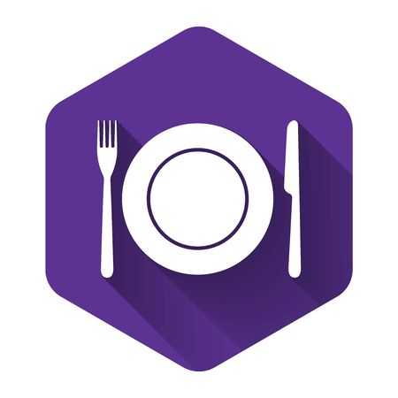 White Plate, fork and knife icon isolated with long shadow. Cutlery symbol. Restaurant sign. Purple hexagon button. Vector Illustration Illustration