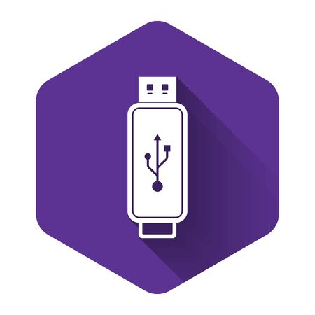 White USB flash drive icon isolated with long shadow. Purple hexagon button. Vector Illustration