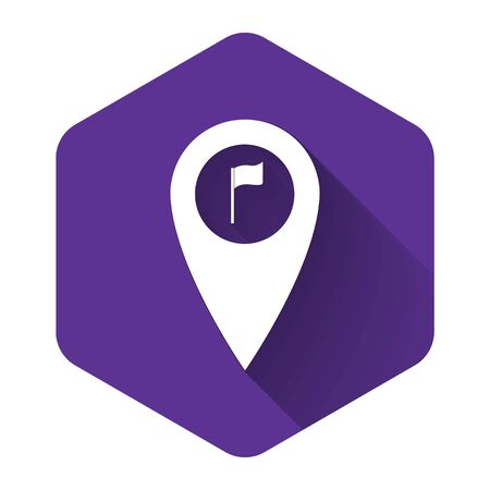 White Map pointer with golf flag icon isolated with long shadow. Location marker symbol. Purple hexagon button. Vector Illustration  イラスト・ベクター素材