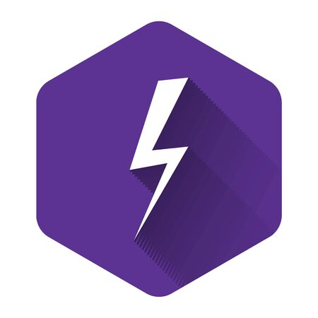 White Lightning bolt icon isolated with long shadow. Flash icon. Charge flash icon. Thunder bolt. Lighting strike. Purple hexagon button. Vector Illustration Illustration