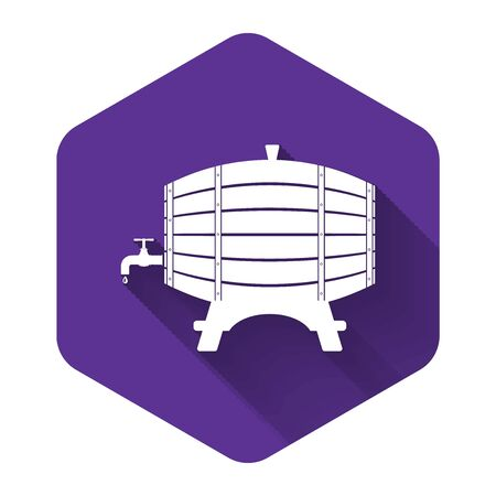 White Wooden barrel on rack with stopcock icon isolated with long shadow. Purple hexagon button. Vector Illustration