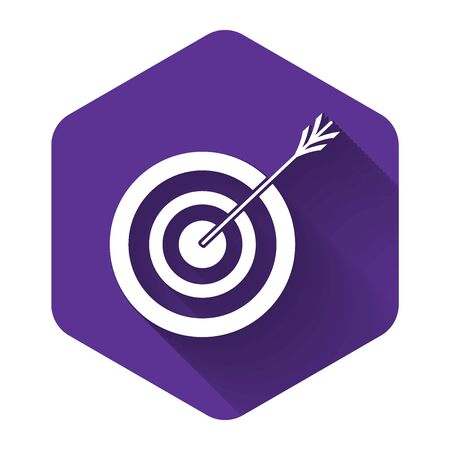 White Target with arrow icon isolated with long shadow. Dart board sign. Archery board icon. Dartboard sign. Business goal concept. Purple hexagon button. Vector Illustration Illusztráció