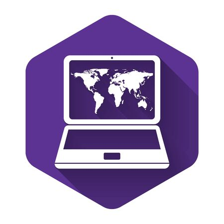 White Laptop with world map on screen icon isolated with long shadow. World map geography symbol. Purple hexagon button. Vector Illustration Çizim