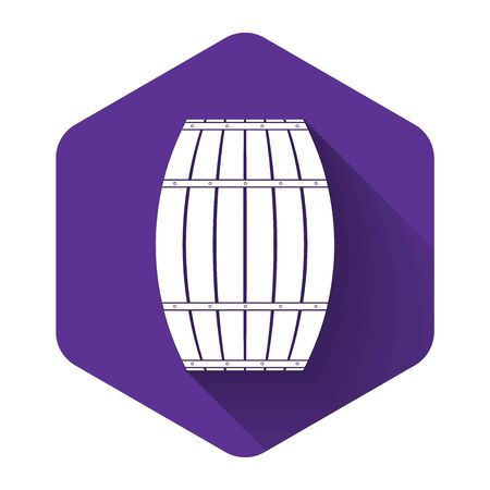 White Wooden barrel icon isolated with long shadow. Alcohol barrel, drink container, wooden keg for beer, whiskey, wine. Purple hexagon button. Vector Illustration