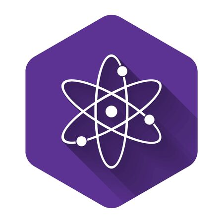 White Atom icon isolated with long shadow. Symbol of science, education, nuclear physics, scientific research. Electrons and protonssign. Purple hexagon button. Vector Illustration Иллюстрация