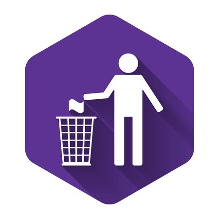 White Man throwing trash into dust bin icon isolated with long shadow. Recycle symbol. Purple hexagon button. Vector Illustration Illustration