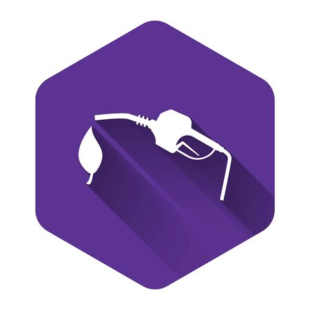 White Bio fuel concept with fueling nozzle and leaf icon isolated with long shadow. Natural energy concept. Gas station gun sign. Purple hexagon button. Vector Illustration Illustration