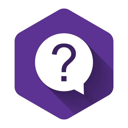 White Question mark in circle icon isolated with long shadow. Hazard warning symbol. Help symbol. FAQ sign. Purple hexagon button. Vector Illustration