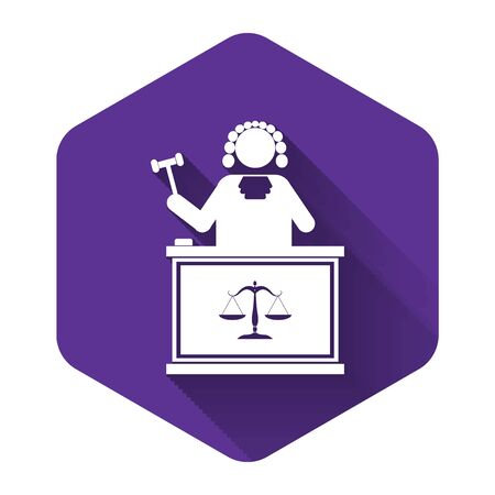 White Judge with gavel on table icon isolated with long shadow. Purple hexagon button. Vector Illustration Illusztráció