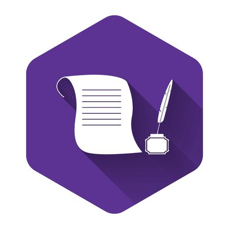 White Feather in the inkwell and paper scroll icon isolated with long shadow. Purple hexagon button. Vector Illustration