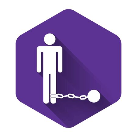 White Prisoner with ball on chain icon isolated with long shadow. Purple hexagon button. Vector Illustration  イラスト・ベクター素材