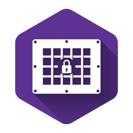 White Prison window icon isolated with long shadow. Purple hexagon button. Vector Illustration 일러스트