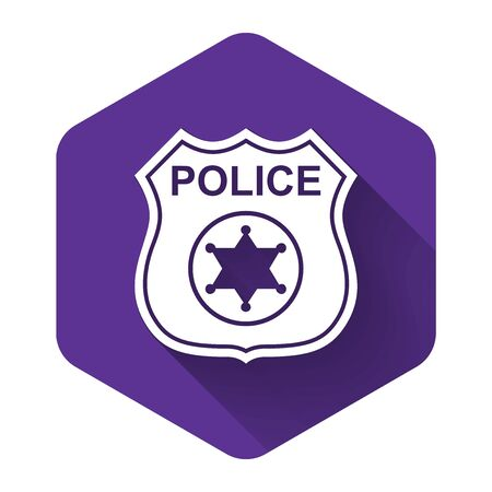 White Police badge icon isolated with long shadow. Sheriff badge sign. Purple hexagon button. Vector Illustration