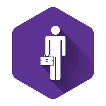 White Businessman man with briefcase icon isolated with long shadow. Purple hexagon button. Vector Illustration Ilustrace