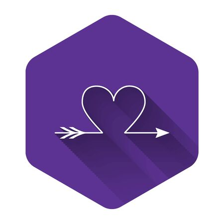 White Cupid arrow heart, Valentines Day cards icon isolated with long shadow. Purple hexagon button. Vector Illustration Illustration