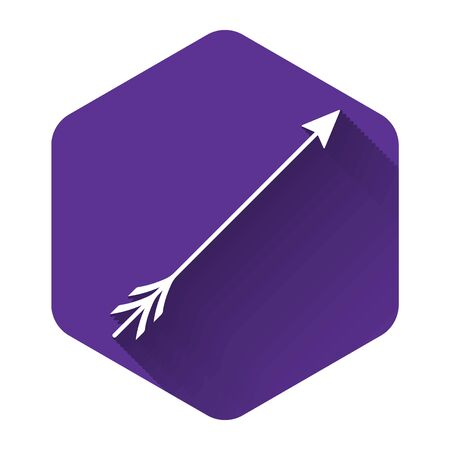White Hipster arrow icon isolated with long shadow. Purple hexagon button. Vector Illustration