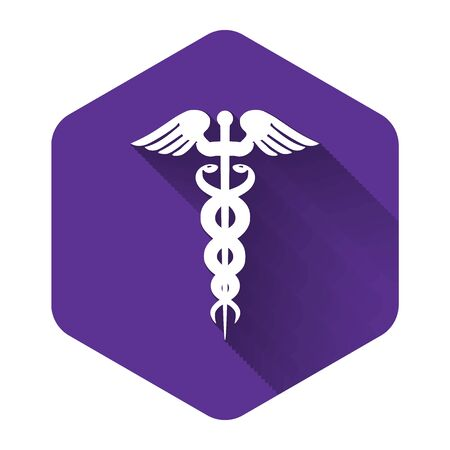 White Caduceus medical symbol icon isolated with long shadow. Medicine and health care concept. Emblem for drugstore or medicine, pharmacy snake symbol. Purple hexagon button. Vector Illustration
