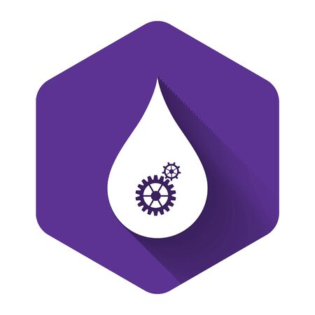 White Drop with gears icon isolated with long shadow. Abstract concept for ecology theme, green eco energy, technology and industry. Purple hexagon button. Vector Illustration Illustration