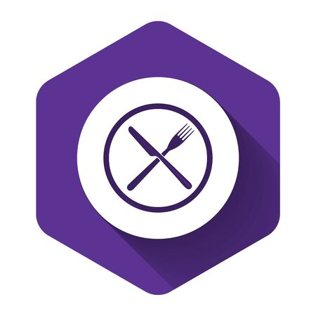 White Crossed fork and knife on plate icon isolated with long shadow. Restaurant symbol. Purple hexagon button. Vector Illustration Illustration