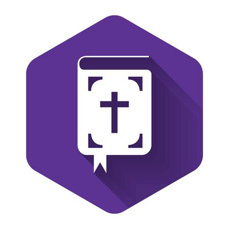 White Bible book icon isolated with long shadow. Holy Bible book sign. Purple hexagon button. Vector Illustration  イラスト・ベクター素材