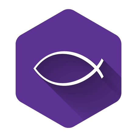 White Christian fish symbol icon isolated with long shadow. Jesus fish symbol. Purple hexagon button. Vector Illustration