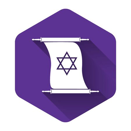 White Torah scroll icon isolated with long shadow. Jewish Torah in expanded form. Torah Book sign. Star of David symbol. Simple old parchment scroll. Purple hexagon button. Vector Illustration Çizim