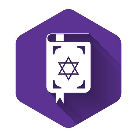 White Jewish torah book icon isolated with long shadow. The Book of the Pentateuch of Moses. On the cover of the Bible is the image of the Star of David. Purple hexagon button. Vector Illustration