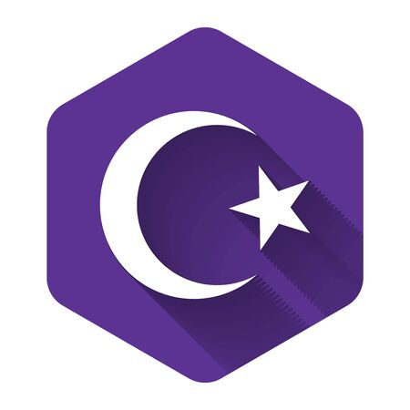 White Star and crescent - symbol of Islam icon isolated with long shadow. Religion symbol. Purple hexagon button. Vector Illustration