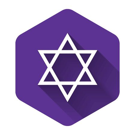 White Star of David icon isolated with long shadow. Jewish religion symbol. Purple hexagon button. Vector Illustration Çizim