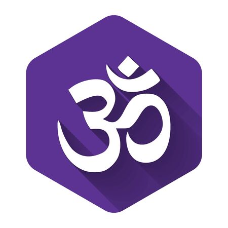 White Om or Aum Indian sacred sound icon isolated with long shadow. Symbol of Buddhism and Hinduism religions. The symbol of the divine triad of Brahma, Vishnu and Shiva. Vector Illustration  イラスト・ベクター素材