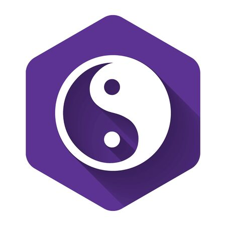 White Yin Yang symbol of harmony and balance icon isolated with long shadow. Purple hexagon button. Vector Illustration