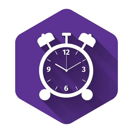 White Alarm clock icon isolated with long shadow. Wake up, get up concept. Time sign. Purple hexagon button. Vector Illustration