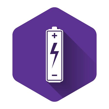 White Battery icon isolated with long shadow. Lightning bolt symbol. Purple hexagon button. Vector Illustration